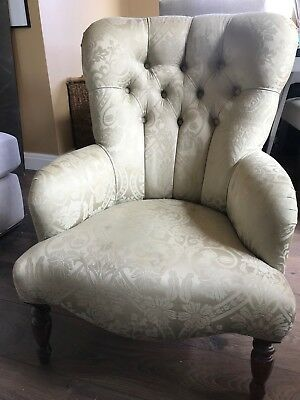 Victorian Armchair, green silk fabric with oak legs