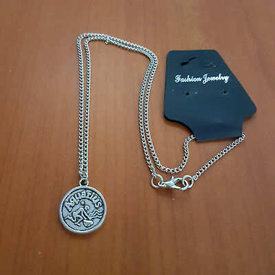Horoscope pendant Silver necklace  Astrology star signs gift