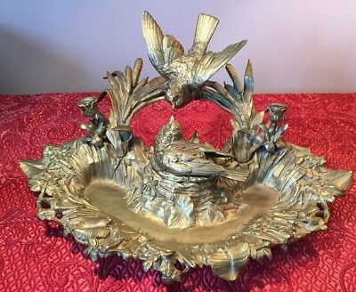 Antique French? Gilt Bronze Birds With Nest Centerpiece Mini Candleholders