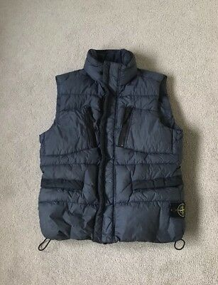 Stone Island Airforce Blue Garment Dyed Crinkle Reps NY Down Gilet Coat RRP £395
