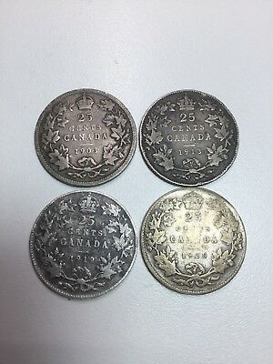 4 Piece Lot 1903 1913 1919 1920 25c Silver Canadian Quarter 25 Cent Canada Coin