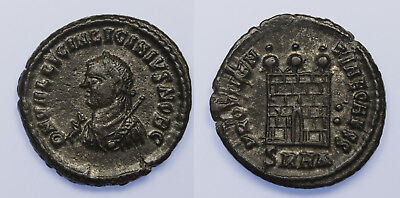 Licinius II silvered AE Follis Heraclea 318-320 AD Campgate rev. minimal wear!
