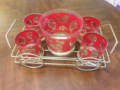 Vintage Culver red and gold paisley barware set with ice bucket and caddy