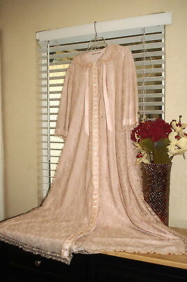 Odette Barsa Robe Lace Overlay Vintage Glam 40-50's I Love Lucy! Size L-Xl
