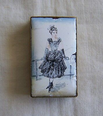 Rare Brass Vesta Case With Enamelled Picture Of A Victorian - Edwardian Lady