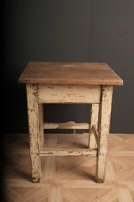 Antique Rustic French Original Paint Side table