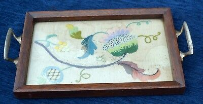 Vintage Wooden Tea Tray Small Tray with Embroidery Panel and Glass Top