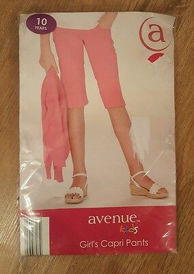 New Tags Girls Pink Capri Pants Trousers Cropped 10 years Avenue Pockets Summer