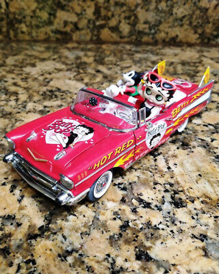 """Betty Boop """"Hot Red"""" Betty '57 Chevy Danbury Mint Diecast with Felix and Pudgy"""