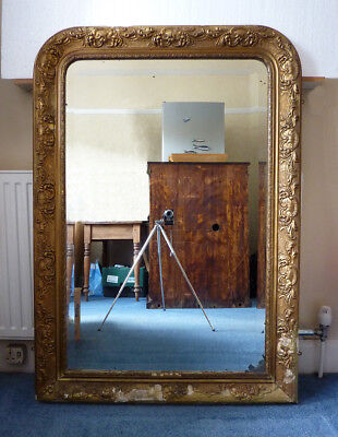 Large 19th Century Antique French Foxed Mirror