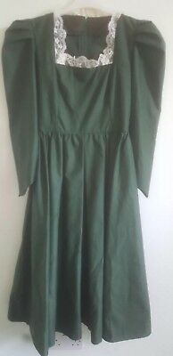 Dark green medieval-style dress - pointed sleeves - hand-made - fits size 12