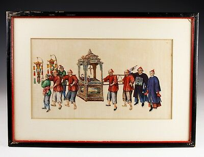 Exceptional Antique Chinese Pith Rice Paper Painting With Figures - #1 Of 10