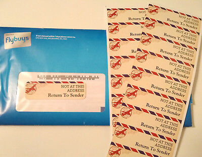 """NOT AT THIS ADDRESS"" - ""Return To Sender"" Address Label Stickers 18/sheet"