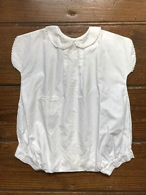 Vintage Baby Girl's / Boy's Toddler White Cotton Romper Embroidery Size 2 /or 3?