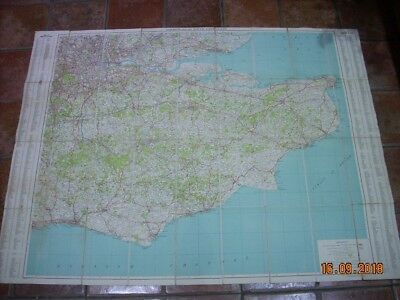 Vintage Map Of London And The South East, Brighton, Eastbourne, Cloth Type