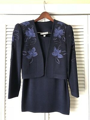 St. John by Marie Gray Skirt Suit Bolero Crop Jacket - Flower Embroidary - Sz 8