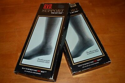BVD RIB BY RIB Men's Support Socks 2 Pairs NOS in Box Black Size 11 B.V.D. Brand