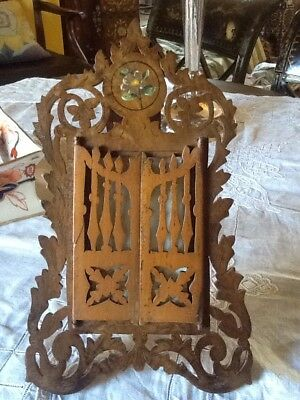 Antique Italian Sorrento Ware Pierced Fretwork Opening Photo Frame