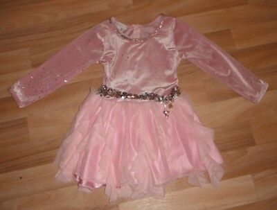 Girls Ice Skating Or Dance Dress Age 5 To 6 Yrs - Pink With Sequins Leotard