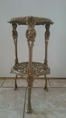 Vintage Brass  Two Tiered Plant Stand With Claw Feet And Cherub Decoration