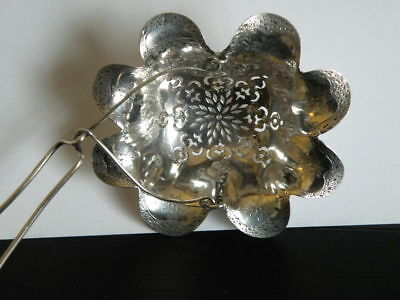Antique Sterling Spout Tea Strainer For Teapot Flower Design