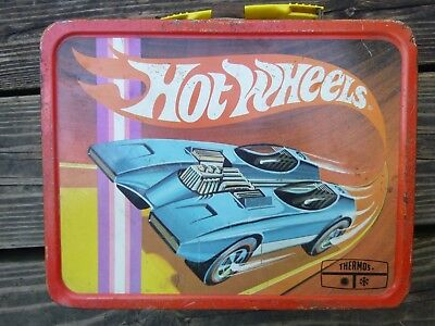 Vintage Metal Lunch Box, Hot Wheels, Mattel 1969. Thermos Co