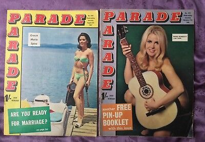 2 x Parade Magazines August 1967 & Feb 1968 Glamour Magazines for men
