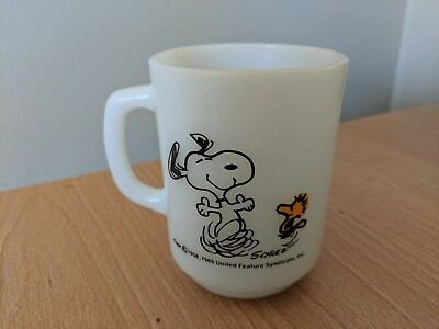"""Vintage Fire King Mug Snoopy & Woodstock """"at Times Life Is Pure Joy!"""