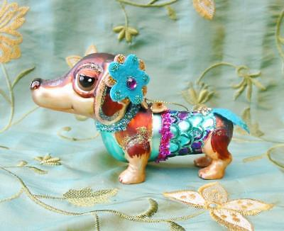 Glass Christmas Ornament Dachshund Wiener Dog Little Mermaid New Beautiful!