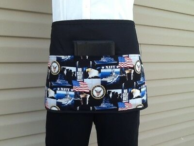 Black Navy Patriotic server waitress waist apron 3 pocket restaurant Cafe