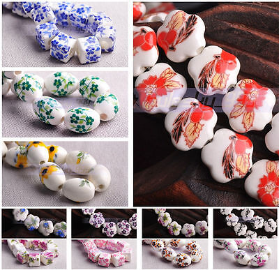 10Pc Various Shapes Ceramic Porcelain Charms Loose Spacer Beads Jewelry Findings