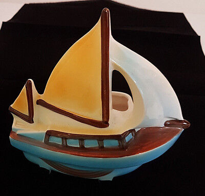 Relpo Sailboat Planter made in Japan. Great Glaze and Color. Rare Example