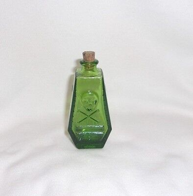"Vintage Wheaton Glass Company  Miniature 3"" Green Glass Poison Coffin Bottle"