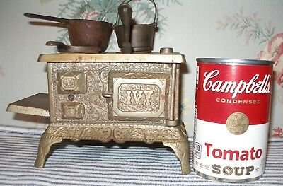 TINY EARLY 1890's IVY Cast Iron Toy Stove, Nickel-Plated Antique, J & E Stevens