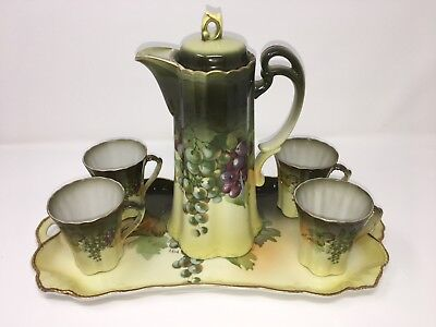 ANTIQUE BAVARIAN 6 piece HOT CHOCOLATE CHINA  Beverage SET- 4 Cups, Pot & Tray