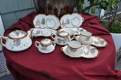 Vintage WWII era Japanese Tea Set Wisteria pattern stamped CPO 1946-48 14pcs.