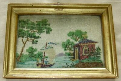 Antique French Beadwork Picture/Sampler. 1840-50