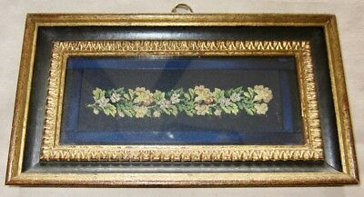 Antique Petit Point Silk Embroidery in original frame