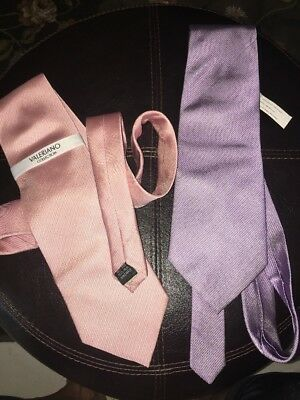 Lot Of 2 NWT Valeriano collection silk necktie PASTEL Pink And Lilac Beautiful