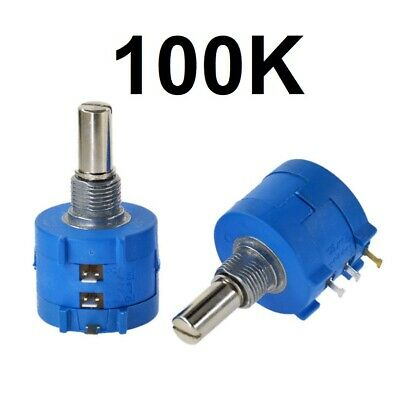 100K Ohm Rotary Potentiometer Pot 10 Turn Variable Dial Resistor
