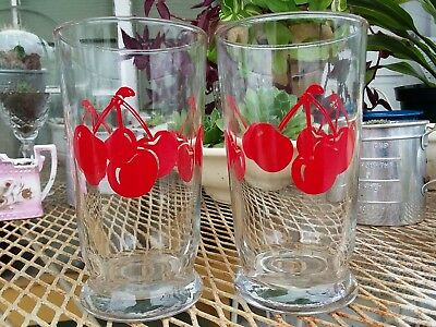 Vintage Pair Of Anchor Hocking Cherries Cherry Tumbler Glasses Red Fruit