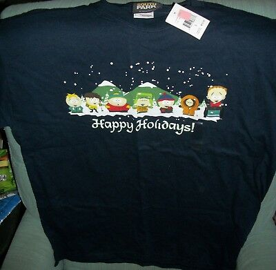 South Park Happy Holidays T-Shirt Size Large NEW w/ Tags Cartman Kyle Kenny Stan