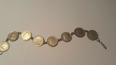 Antique Silver Queen Victoria 1891 3 pence coin with 1935 3 pence coins bracelet