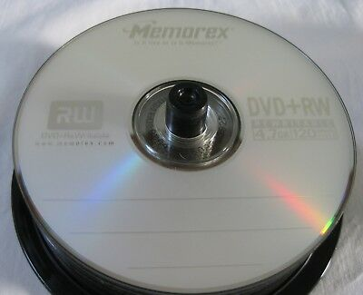 Lot 21 Memorex RW DVD+RW Rewritable 4.7GB 120 Minute Video Discs New Open Stock