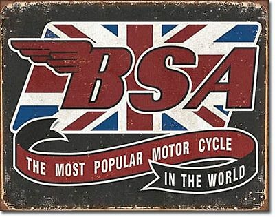 BSA British Motorcycle Logo Metal Ad Sign Picture Repair Shop Garage Decor Gift