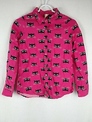 Faded Glory Girl's XL 14-16 Pink Black Cat Design Long Sleeve Button Down Shirt