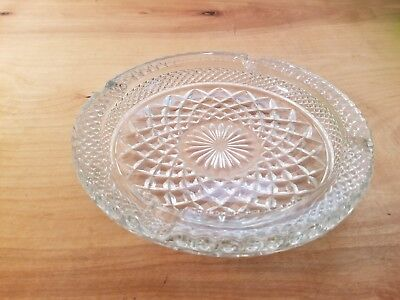 "Vintage Heavy Round Ornate Brilliant Clear Glass Ashtray Diamond Pattern 8"" Wide"