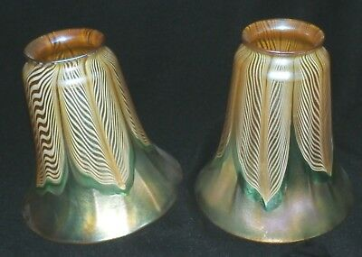 Most Beautiful Signed Quezal Art Glass Shades Ca 1915