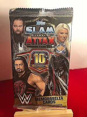 Topps WWE SLAM ATTAX 10TH EDITION RING MAT SHIRT MEMORABILIA + COLLECTORS CARDS