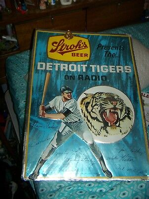 Vintage Stroh's Beer Detroit Tigers Sign Stroh's Presents The TIgers On Radio
